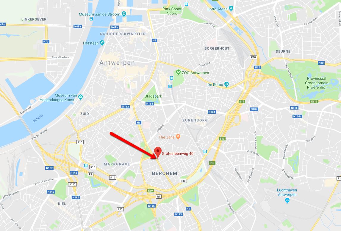 Routebeschrijving Hoofdkantoor Berchem Antwerpen Exentra